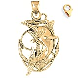 14K Yellow Gold 45mm Anchor With Marlin Charm w/ Lobster Clasp