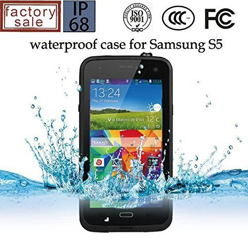 Queens@ Waterproof Water Resistant Case Cover for Samsung Galaxy S5 Sv V I9600 Phone,dustproof Snowproof Shockproof Hard Armor Protective Cover Case for Samsung Galaxy S5 Sv V I9600 (0-samsung S5 Waterproof Black)