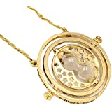 LiangXuanChen Golden Colored Metal Necklace With Double Ring And Movable Turning Sand Watch Pendant On Chain