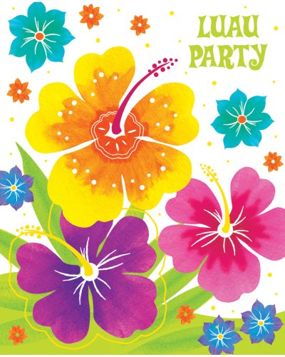 Creative Converting 8 Count Postcard Style Party Invitations, Luau Floral Delight