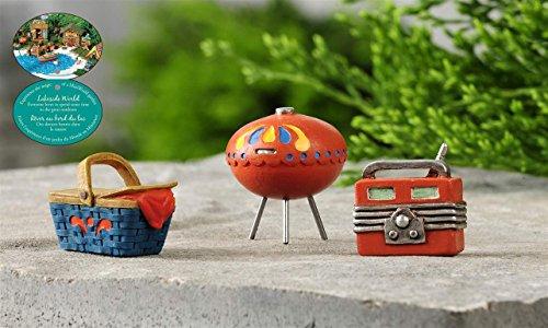 Lakeside Picnic Grill Fairy Garden Miniature Statue Set Mini Dollhouse Accessory