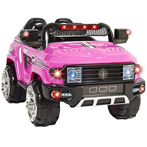 best choice products 12v mp3 kids ride on truck car rc remote control led lights aux and music pink little kid cars