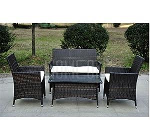 Rattan Wicker Garden Furniture Set Brown Sofa 2 Chairs Coffee Table