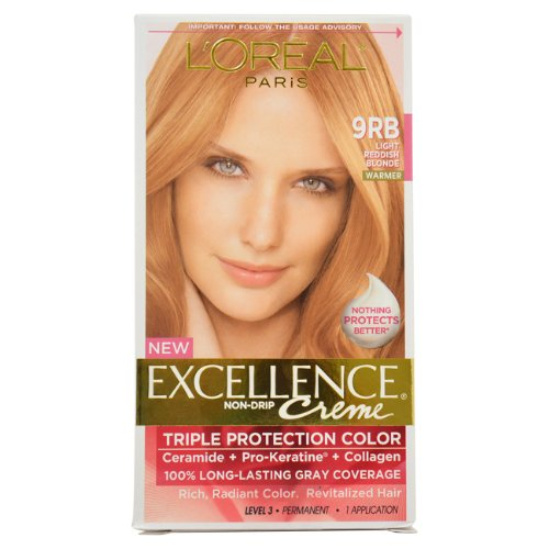 L'Oreal Paris Excellence Crème With Pro-Keratine Complex, Light Reddish Blonde 9Rb