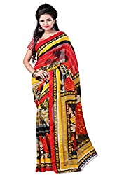 texclusive amazing printed georgette saree with blouse piece
