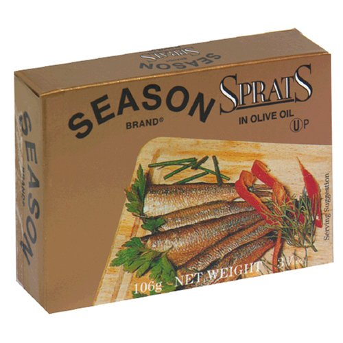 Season Sprats, Lightly Smoked in Olive Oil, 3.75-Ounce Tins (Pack of 6) (Sprats In Oil compare prices)