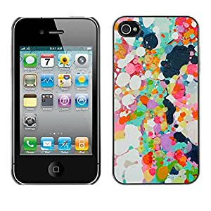 Omega Covers - Snap on Hard Back Case Cover Shell FOR Apple iPhone 4 / 4S - Abstract Paint Oil Spots Colorful Spring