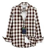 【 UN ANANAS 】 ギンガムチェック 大きめ 幅広め デザイン スマート カジュアル ファッション 白 メンズ シャツ 男性 ブラウン パープル パープルブルー(ブラウンXL)