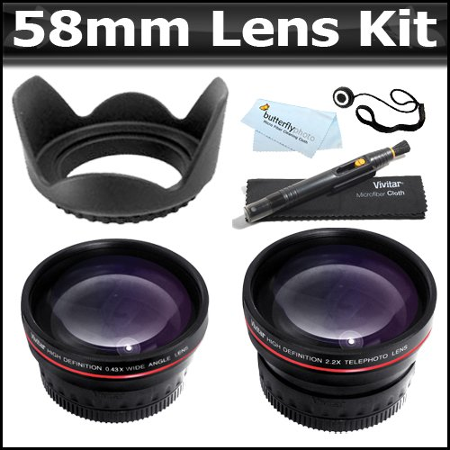 58Mm 2X Telephoto Hd Zoom Lens + 0.45X Wide Angle Lens + Lens Pen Kit + Lens Hood + More For Canon Eos Rebel T5I, T4I, Xti T2I T3I T3 20D 5D 300D 350D 450D 400D 10D T2 40D 50D 60D 650D 550D That Use Canon Lenses (18-55Mm, 75-300Mm, 50Mm 1.4, 55-200Mm)