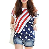 LaLaMa Womens Sexy American Flag Print Tee Shirt USA Tops T-shirt