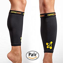 CopperJoint Calf Compression Sleeve, #1 Copper Infused Fit Support - Recovery GUARANTEED - Wear Anywhere - Medium - Pair