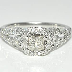 Princess cut Engagement Ring Halo 1.25ct Real Diamond 14K White Gold 0.4ct