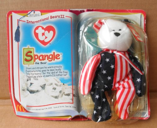 McDonalds Collectible TY Beanie Babies Spangle the Bear Stuffed Animal Plush Toy - White/Red stripes and Blue and White Stars