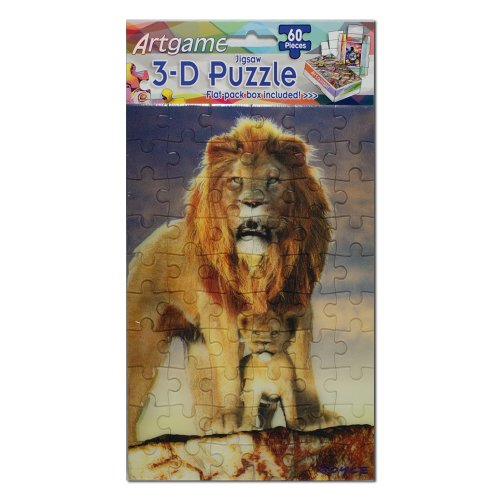 "Artgame 60-Pieces 3-D Jigsaw Puzzle ""Lion"" Wildlife Art By Royce B McClure - 1"