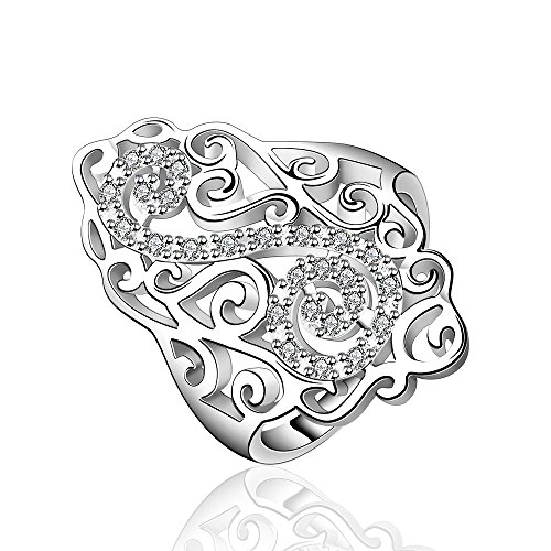 New Lady Fashion NYKKOLA Unique Jewelry placcati argento Sterling 925, con Zirconia cubica, con anello di fidanzamento, Argento, 18, cod. TET5T6YHR103