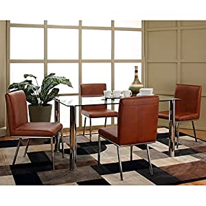 Mira Glass Top Dining Room Set W Caramel Chairs Table C