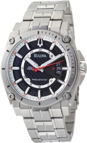 Bulova 96B133 Mens Precisionist Champlain Silver Black Watch