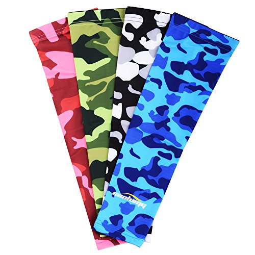COOLOMG (Pair) Youth/Adult Compression Arm Sleeve UV Protection Baseball Basketball Football Digital Camouflage Gray X-Small (Youth Baseball Protection compare prices)