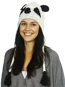 Warm Winter Sports Animal Knit Ski Beanie w/ Earflaps - Panda Hat
