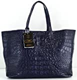 100% HORNBACK SKIN GENUINE CROCODILE LEATHER HANDBAG BAG TOTE HOBO LARGE HUGE SOFT&SHINY DARK BLUE NEW W/Wallet EMS SHIPPING @ Genuineshop