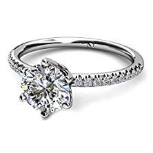 buy Palladium Delicate Six Prong Pave Diamond Engagement Ring. 1/8 Ctw Si1-Si2 Clarity