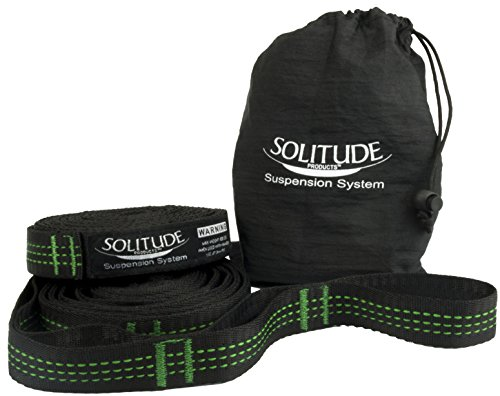 SOLITUDE Hammock Tree Straps System. Heavy Duty Extra Long Lightweight Suspension Kit. Adjustable 100% Polyester. No-Stretch. Fast Portable Strap Suspension System Setup.