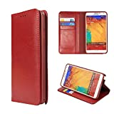 Moon Monkey Luxury Genuine Leather Business Series Stand Function Wallet Design Protective Case for Samsung Galaxy Note 3 (MM419) (Red)