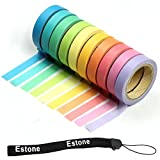 Estone 10x Decorative Washi Rainbow Sticky Paper Masking Adhesive Tape Scrapbooking DIY