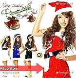 ☆X'mas☆クリスマス★リバーシブル★プリンスサンタ お得なコスプレ3点セット☆(サンタワンピース・ベルト・帽子の豪華3点セット)レッド/ブラック