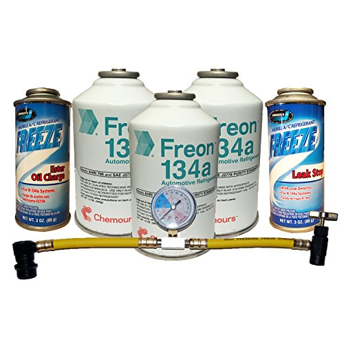 Complete AC Car Kit Refrigerant, 3 Cans DuPont Chemours R-134a, Oil Charge, Stop Leak & Can Tap with Gauge (Ac Refrigerant Kit compare prices)