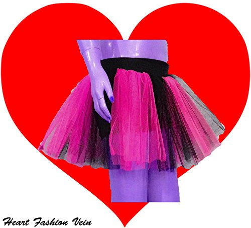Neon Hot Pink Black Two Layer Two Tone Stripe Tutu Skirt
