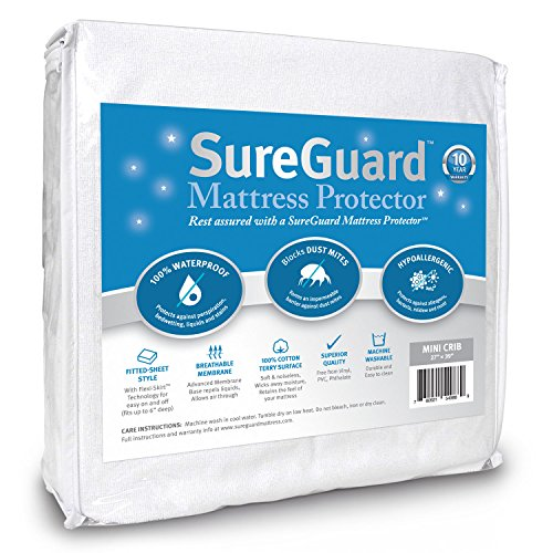 Mini Crib SureGuard Mattress Protector - 100% Waterproof, Hypoallergenic - Premium Fitted Cotton Terry Cover for Portable Pack n Play - 10 Year Warranty (Mini Crib Fitted Sheet compare prices)