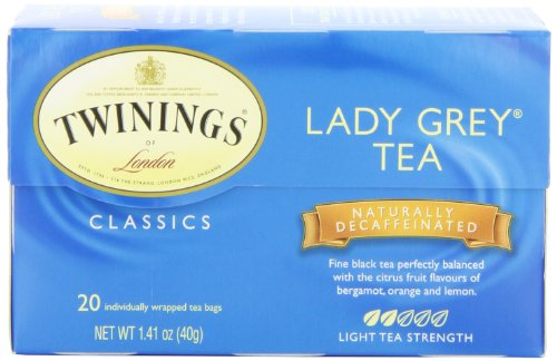 Twinings Lady Grey Decaf Tea, Tea Bags, 20-Count Boxes (Pack of 6)