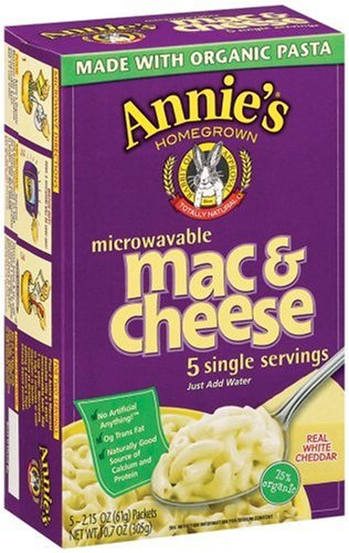 Annie's Homegrown White Cheddar Microwavable Mac & Cheese, 5-Count 2.15 Packets (Pack of 6)[Amazon Frustration-Free Packaging]