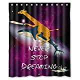 """Stylish Living Elegant Giraffe Riding Shark Never Stop Dreaming Bathroom Shower Curtain (60"""" x 72"""" ) for Home / Traval / Hotel with Hooks"""