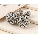 Angelia Fashion Style Tribal Double Pearl Matte Stud Earrings (Silver 3)