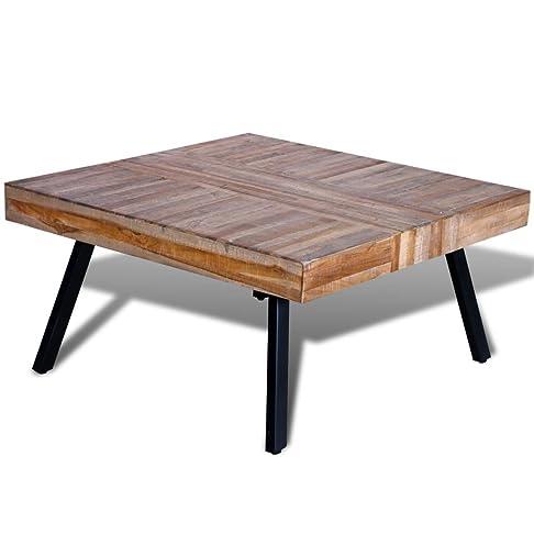 vidaXL Tavolino per cafè quadrato in legno anticato di teak