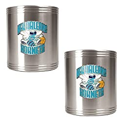 New Orleans Hornets NBA 2pc Stainless Steel Can Holder Set - Primary Logo