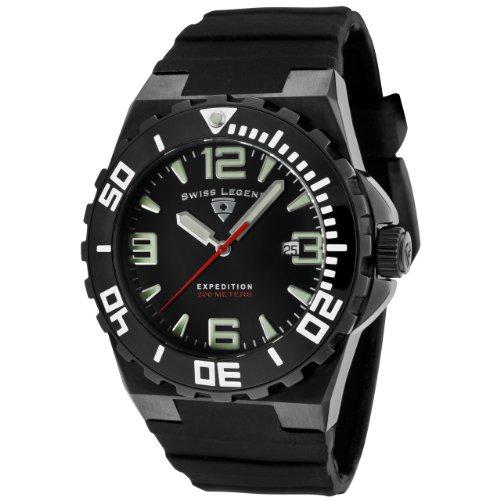 Swiss Legend SL-10008-BB-01 - Reloj analógico de cuarzo para hombre, correa de silicona color negro