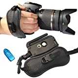 First2savvv OSH0402 Professional Wrist Grip black genuine leather hand Strap for Nikon D3200 with card reader