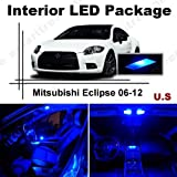 Ameritree Mitsubishi Eclipse 2006-2012 (8 Pieces) Blue LED Lights Interior Package and Blue LED License Plate Kit