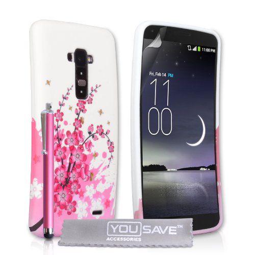 Yousave Accessories Lg G Flex D955 Case Floral Bee Silicone Gel Cover With Stylus Pen