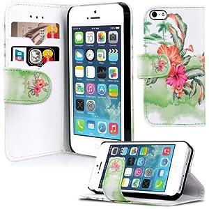 Apple iPhone 5S / 5 Handyhülle Brieftasche Leder Hawaii