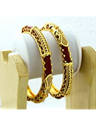 BDF Gold Plated Designer Antique Bangles. A Pair Of 2. Product Design May Differ As Per The Photography. Available...