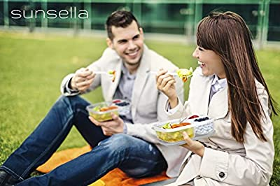 Premium Bento Lunch Box Containers (4 Pack) - 3 Compartment - Sunsella Buddy Boxes (Not Leakproof)