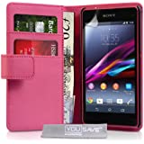 Yousave Accessories Sony Xperia Z1 Compact Case Hot Pink PU Leather Wallet Cover