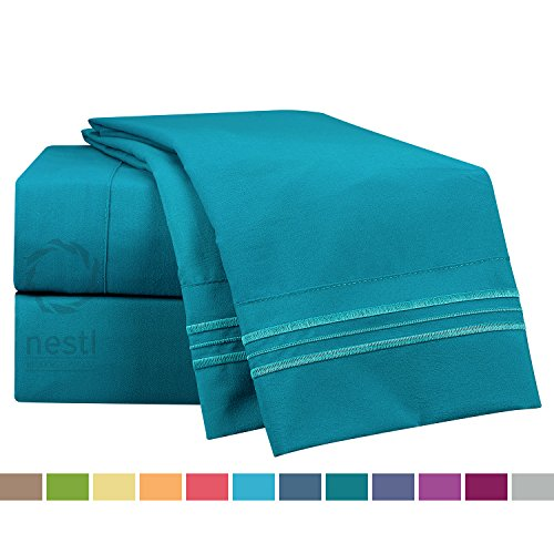 Bed Sheet Bedding Set, Queen Size, Teal, 100% Soft Brushed Microfiber Fabric...