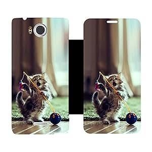 Skintice Flip Cover With Vinyl Wrap-Around For Infocus M530, Design - Dancing Cat