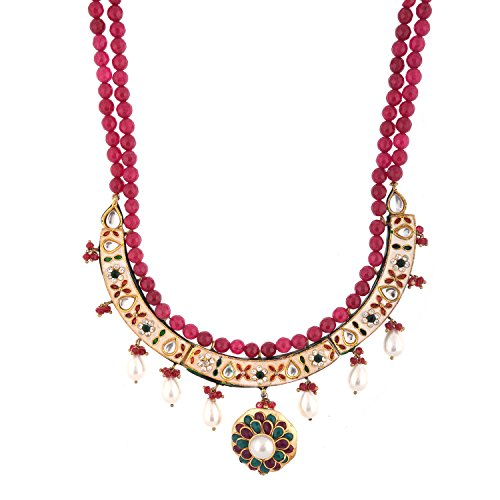 Red Manirathnum Red,Green Semi Precious Stones,Brass Stone Desgning Necklace 113.00 Grams For Women (Multicolor)