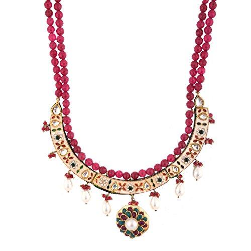 Red Manirathnum Red,Green Semi Precious Stones,Brass Stone Desgning Necklace 113.00 Grams For Women (Multicolor)